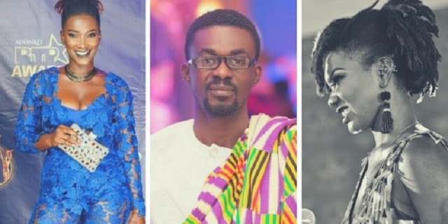 Late Ebony Reigns and Zylofon Media Boss Nana Appiah Mensah (Middle)