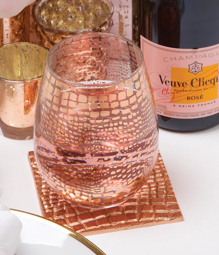 Stemless Wine Glass in Rose Croc