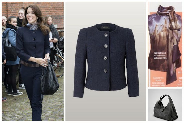 Crown Princess Mary wore Prada blouse, Sand jacket and she carries Bottega Veneta bag