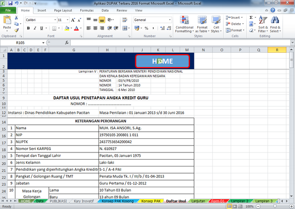 Aplikasi DUPAK Format Microsoft Excel