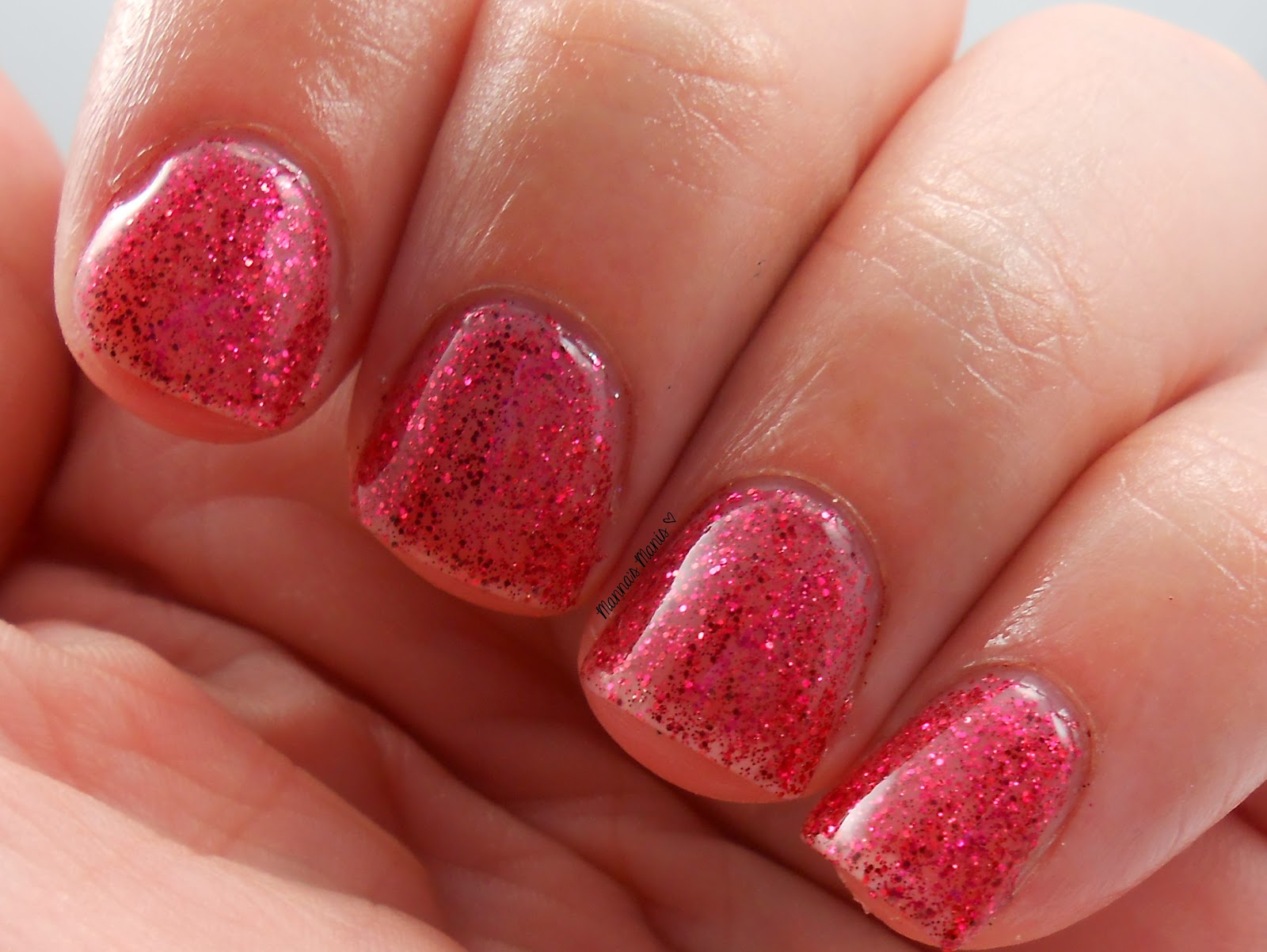 fingerpaints sugar and spice, a full coverage red microglitter nail polish