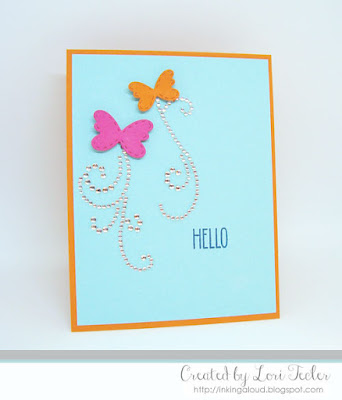 Butterfly Hello card-designed by Lori Tecler/Inking Aloud-stamps and dies from Lil' Inker Designs