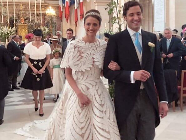 Diamond tiara. Princess Alessandra in Andrew Gn dress, Princess Beatrice in Topshop coat and The Vampire's Wife dress. Princess Stephanie