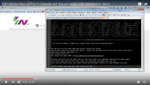 [ VIDEO ] Sql Injection manual Part 1 ( bypass waf, bypass angka unik union select, dios )
