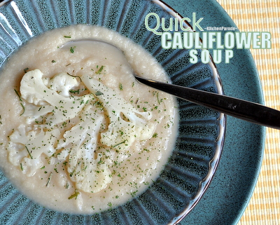Quick Cauliflower Soup (or Broccol Soup) ♥ KitchenParade.com, quick delicious soup made with just five ingredients, starring either broccoli or cauliflower or a combination! Vegan. Gluten Free. Weight Watchers Friendly.