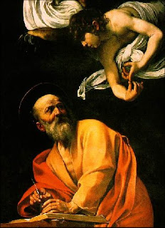 The Inspiration of St. Matthew, by Caravaggio, 1602.