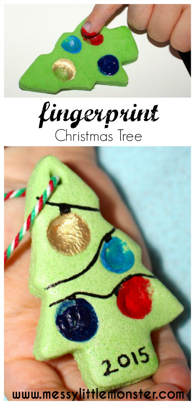 Salt dough fingerprint christmas tree messy little monster for 2 year old christmas ornaments crafts