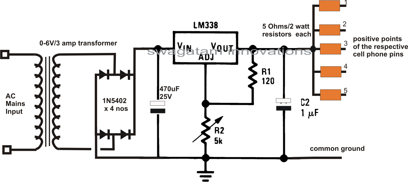 6 Useful Dc Cellphone Chargers Explained Full Circuit Diagram Supply Using Lm7805 Lm7806 Lm7809 Lm7812 Ics Charging 5 Cellphones Together From A Single