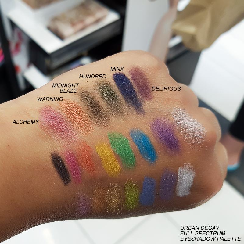 Urban Decay Full Spectrum Eyeshadow Palette - Swatches - Alchemy Warning Midnight Blaze Hundred Minx Delirious