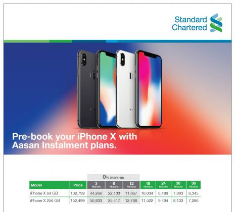 Standard Chartered offers iPhone X on Easy Installment Plans