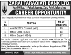 Zarai Taraqiati Bank Jobs 2019 ZTBL