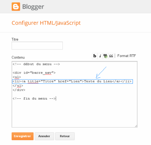 Créer une Barre de Navigation sous Blogger