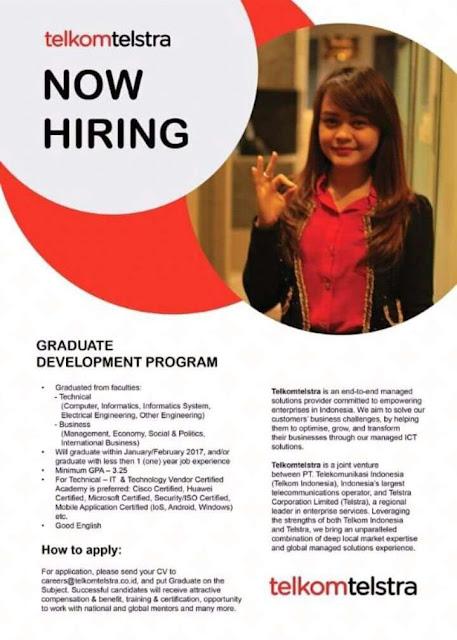 Lowongan Kerja Fresh Graduate/ Experience Telkomtelstra Januari 2017