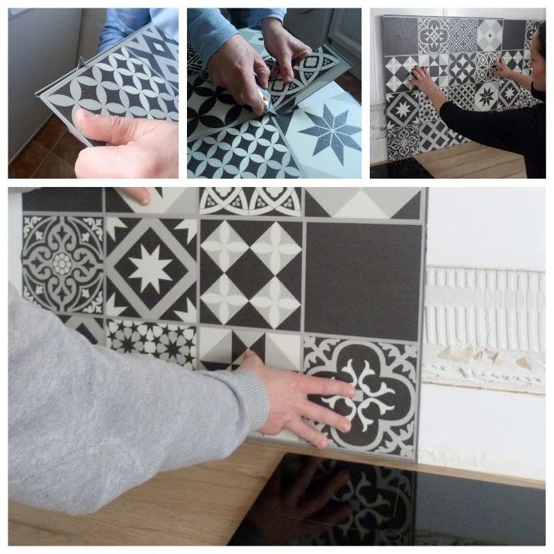 Instalación de baldosas pvc imitación porcelánico frente cocina