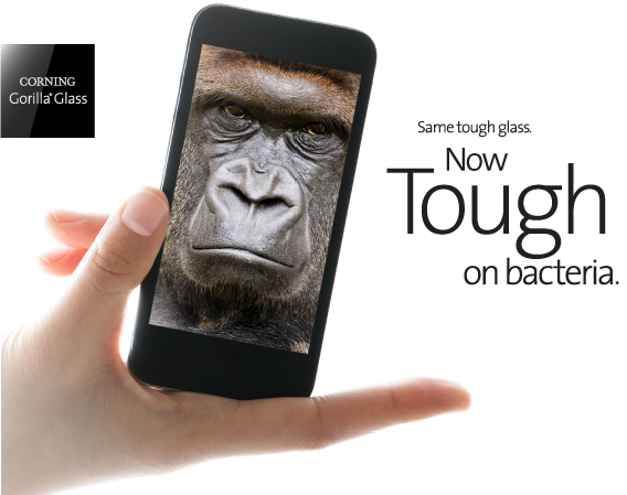Antimicrobial Gorilla Glass technology by Corning
