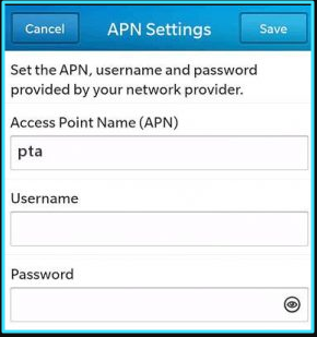 New AT&T apn settings blackberry