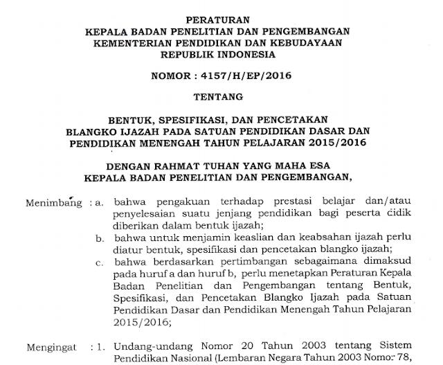 Download Pedoman Penulisan Ijazah dari Kemdikbud 2016
