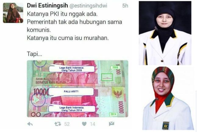 Dwi Estiningsih, Kader PKS Penyebar HOAX Lambang PKI Di Uang Rp.100.000 dan Isu Larangan Jilbab