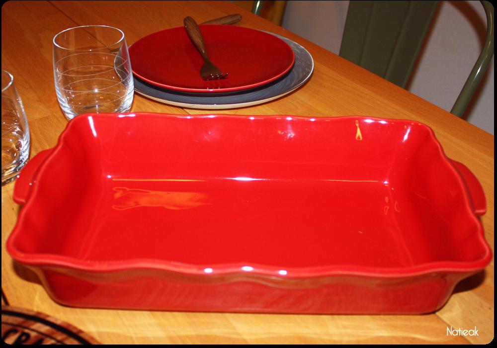 plat à four rouge  E.Leclerc maison