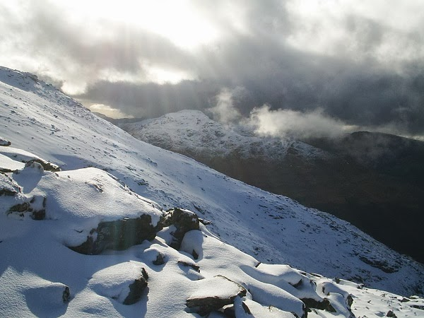 Sunrays and grey clouds near Cobbler
