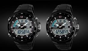 Bisnis Men Dual Display Waterproof  Multi-funtion LED Sports Watch Black Jam Tangan