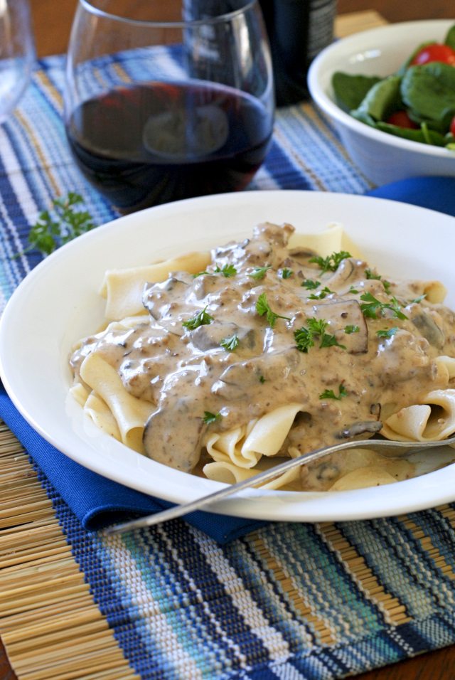 Mushroom Ground Beef Stroganoff is a budget-friendly, easy to make, creamy, comfort food classic that will take the stress out of cooking dinner on a busy weeknight!
