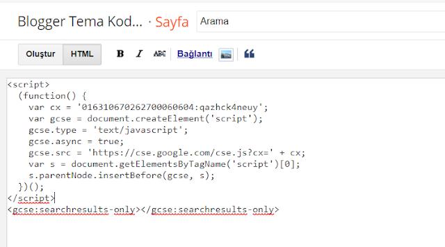 google özel arama kutusunun sayfa eklenmesi