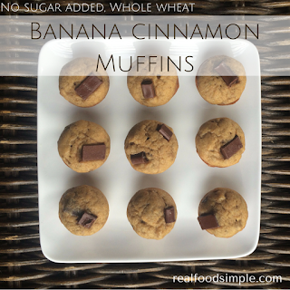 no sugar added whole wheat banana cinnamon muffins | realfoodsimple.com