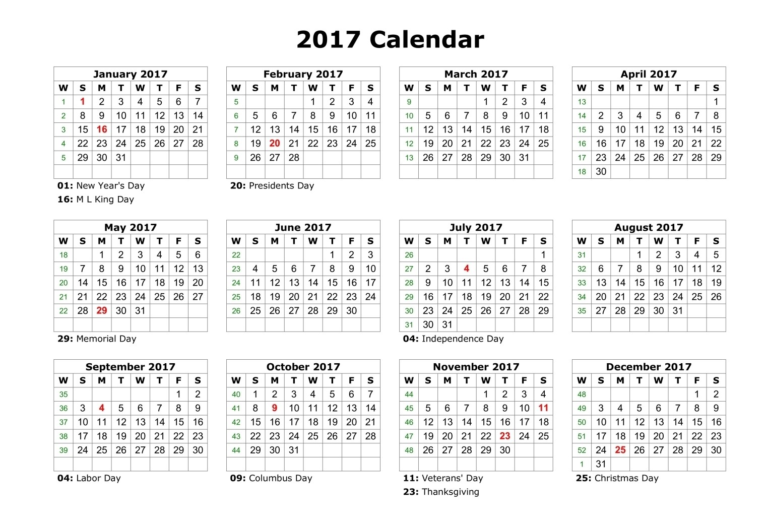 calendar 2017 with us holidays - Calendar