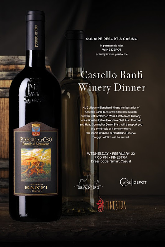 Shop Girl - Your Shopping Guide Blog: AN INVITATION TO THE CASTELLO BANFI DINNER AT FINESTRA