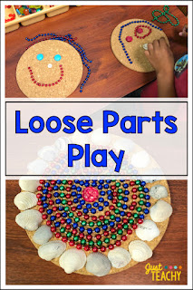 Loose Parts let children explore their creativity through open-ended play. #justteachy