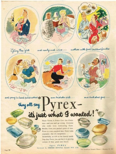 Magazine page showing Agee Pyrex 1950's Advertisement