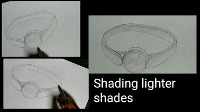 How to draw 3d pearl ring drawing, step by step tutorial of pearl ring, easy Drawing of pearl ring , realistic ring drawing,
