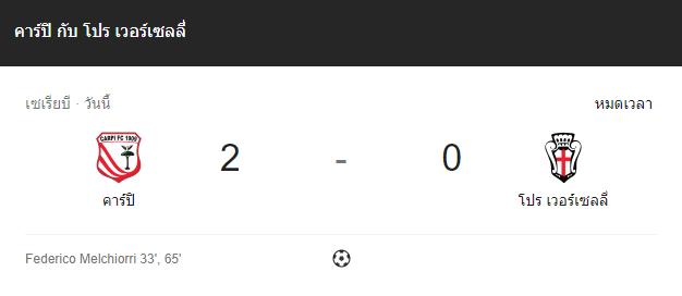 แทงบอล ไฮไลท์ เหตุการณ์การแข่งขันระหว่าง คาร์ปิ vs โปร เวอร์เซลลี่