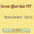 November 2016 Current Affairs Quiz PDF