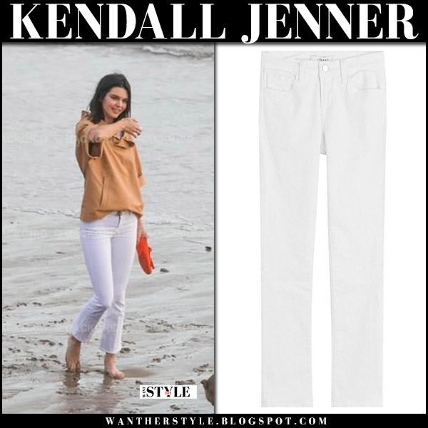 Kendall Jenner in white cropped jeans j brand selena and camel top on the beach in Malibu november 7 2017