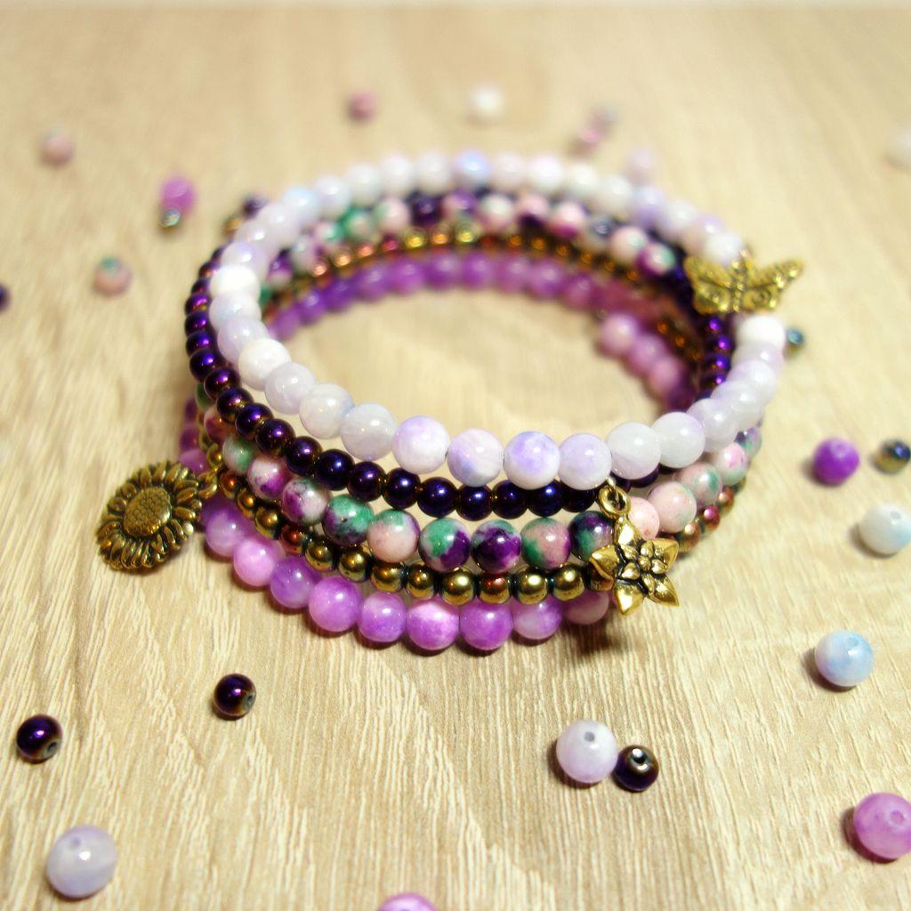 DIY Perlenarmband in violett, aus Memory Draht und Halbedelstein ...