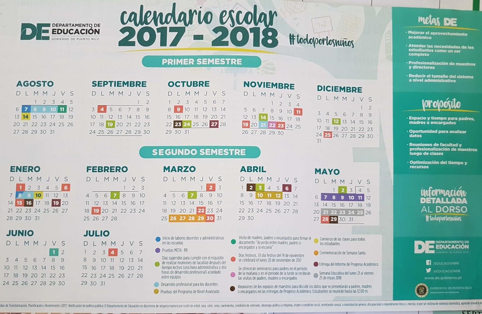 Fundación Y Desarrollo De La Sociedad Puertorriqueña Calendario