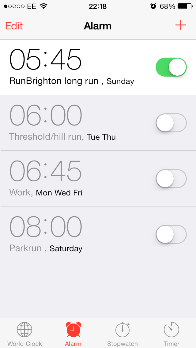 Brighton Marathon training run alarm