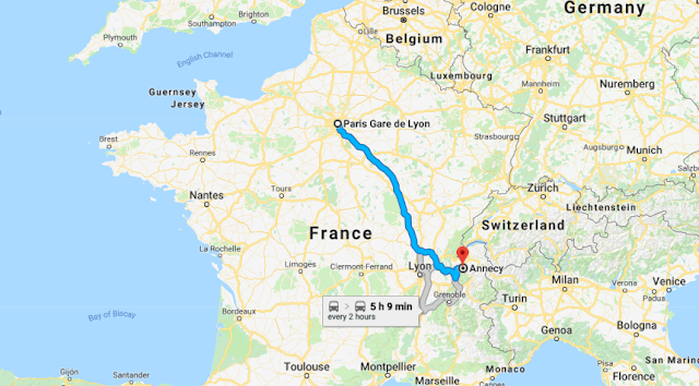 Mapa viagem de trem de Paris a Annecy