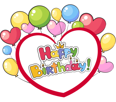 Happy Birthday heart sticker