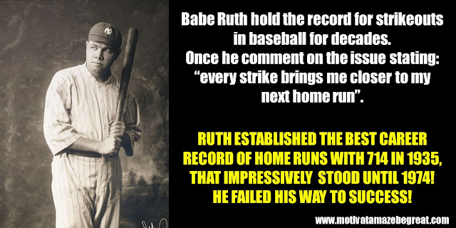 63 Successful People Who Failed: Babe Ruth, Success Story, Strikeouts record, Home-runs record, failure