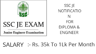 SSC JE Recruitment Notification Junior Engineer 2019 For Diploma and Engineer Students