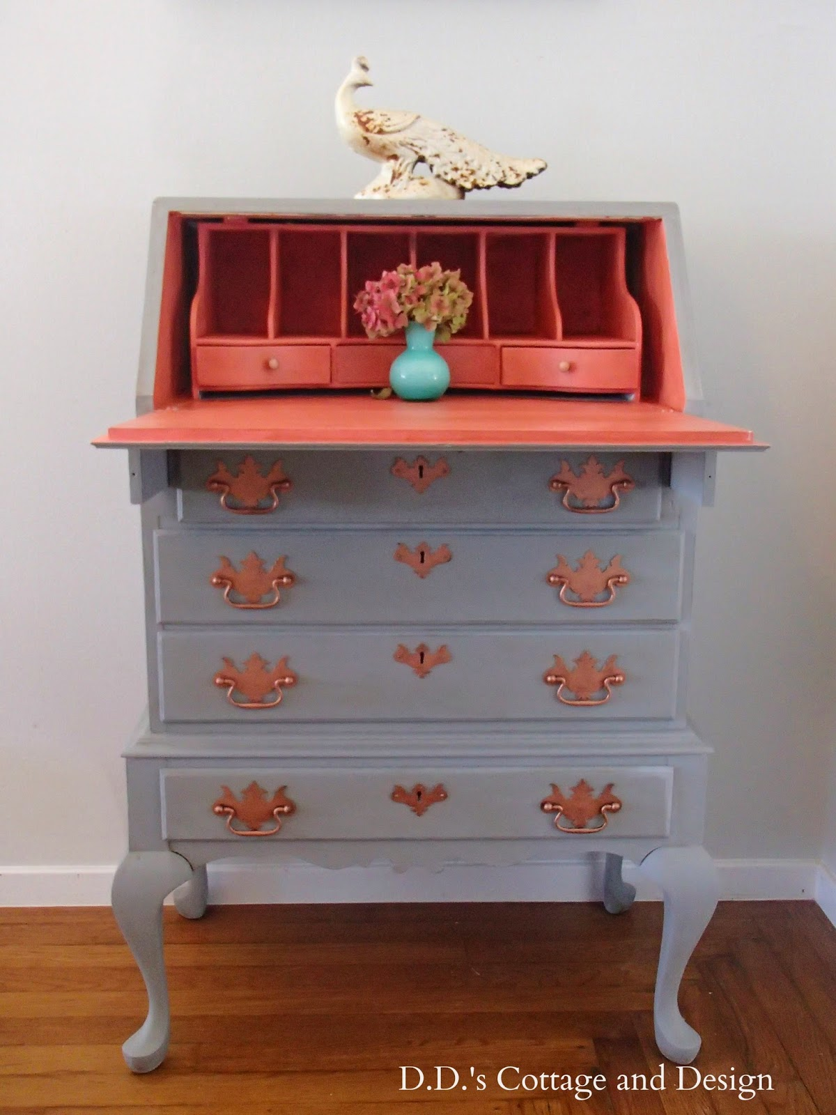 http://ddscottage.blogspot.com/2014/07/queen-anne-secretary-desk-with-pop-of.html