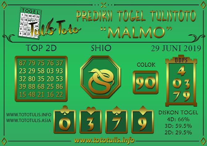 Prediksi Togel MALMO TULISTOTO 29 JUNI 2019