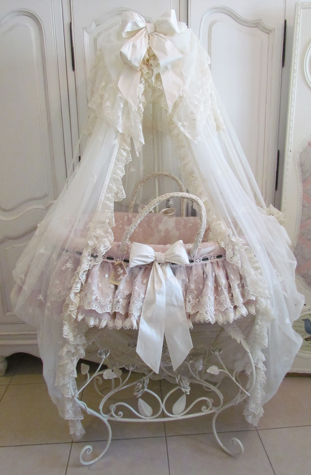 Baby Cots Baby City Angela Lace Pink Frilly Moses Basket