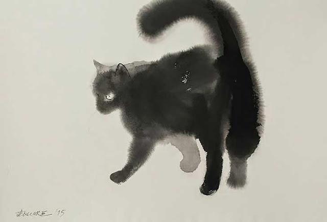gato hecho con acuarela y tinta negra