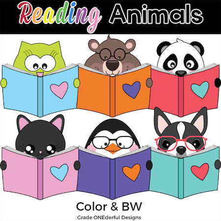 Set of super cute animals (owl, groundhog, panda, cat, penguin, boston terrier) reading books!
