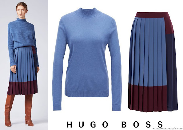 Princess Sofia wore Hugo Boss Fallie merino wool sweater and Midesa A-line skirt