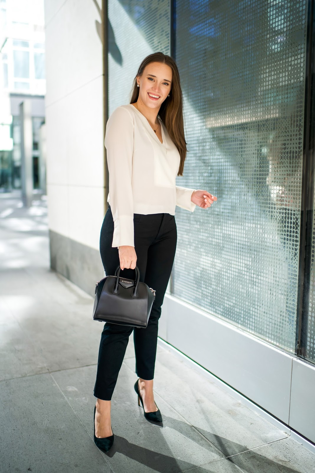 The Best White Blouse for Work by popular New York fashion blogger Covering the Bases